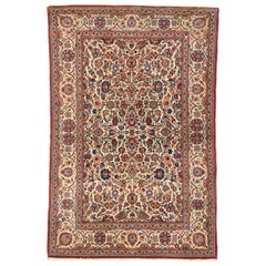 Antique Persian Kashan Accent Rug with Traditional French Art Nouveau Style