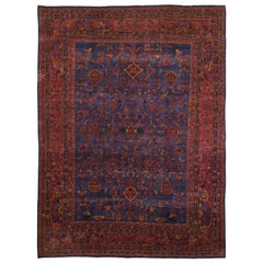 Antique Persian Kashan Good Condition Slight Wear Pure Wool Hand Knotted Rug