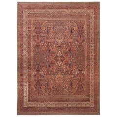 Antique Persian Kerman Area Rug. Size: 10 ft 10 in x 14 ft 4 in
