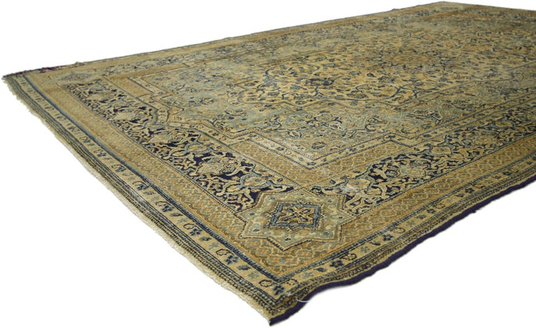 Hand-Knotted Antique Persian Kerman Area Rug with Hollywood Regency Style, Persian Kirman Rug For Sale