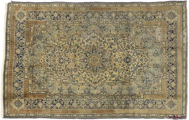 Wool Antique Persian Kerman Area Rug with Hollywood Regency Style, Persian Kirman Rug For Sale