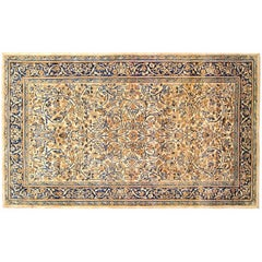 Antique Persian Kerman Carpet, in Small Size, with Ivory Field and Floral Design