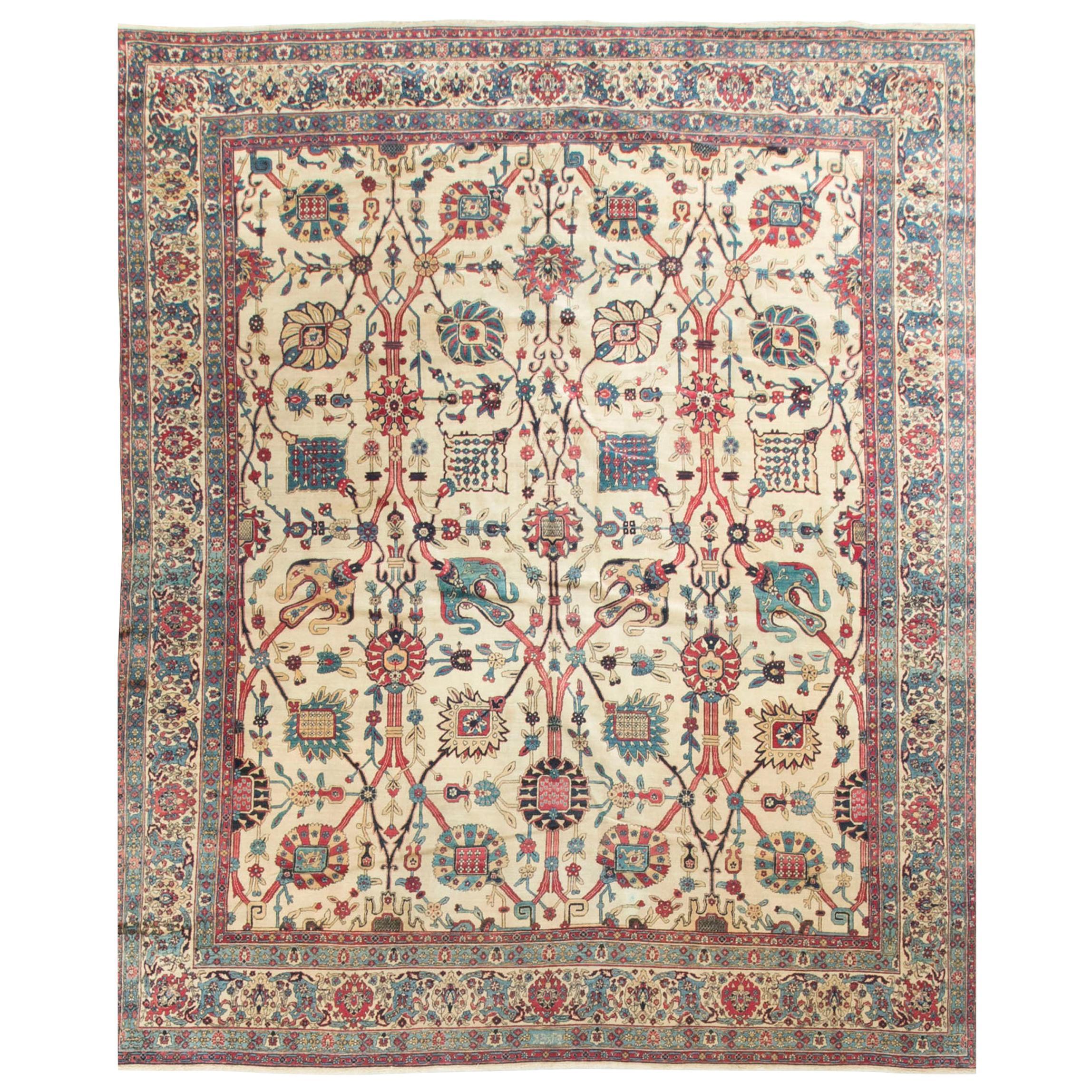 Antique Persian Kerman Lavar Rug Carpet, circa 1900