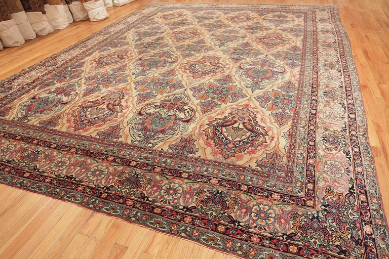 Beautiful large size antique Persian Kerman rug, country of origin: Persia, date: circa 1880.