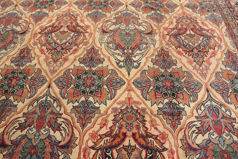 19th Century Antique Persian Kerman Rug For Sale