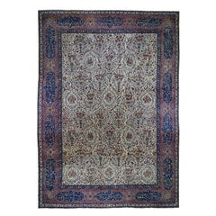 Antique Persian Kerman with Poetry Cartouches and Animals Oversize Oriental Rug