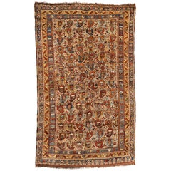 Antique Persian Khamseh Geometric Rug circa 1910s 1920s