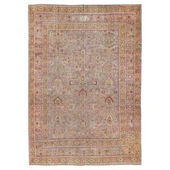 Antique Persian Khorassan Rug with All-Over Floral Design in Orange, Red, Pink