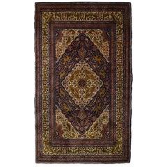 Antique Persian Khoy Carpet in Cream, Green, and Indigo Wool
