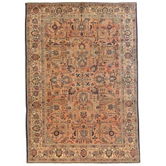 Antique Persian Khoy Rug with Navy and Ivory Floral Allover Details
