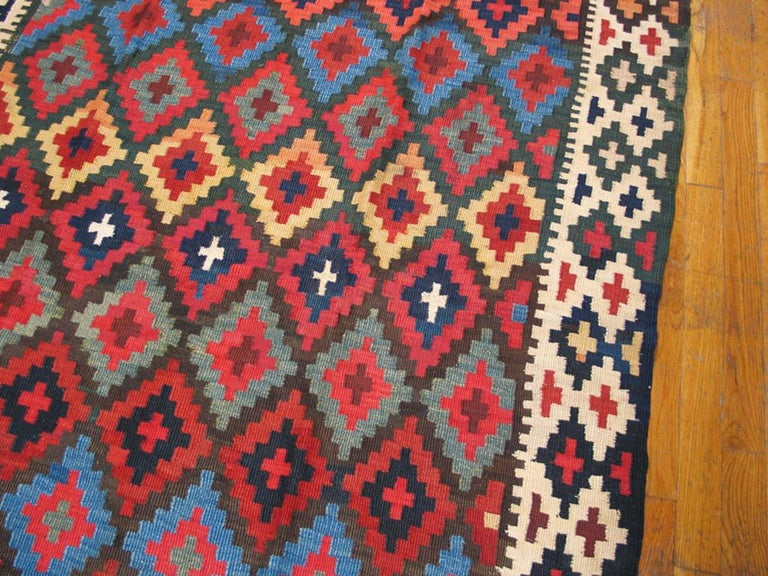 Hand-Knotted Antique Persian Kilim Rug For Sale