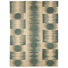 Antique Persian Kilim Area Rug with Green Circle Designs on Beige Field
