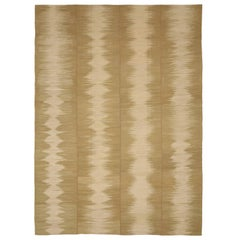 Antique Persian Kilim Rug with 'Sound Wave' Pattern on Brown Field