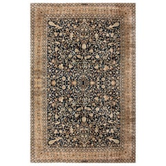 Antique Persian Kirman Beige, Brown and Midnight Blue Handwoven Wool Rug