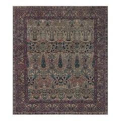 Antique Persian Kirman Blue, Brown, Green, Pink and Red Wool Rug