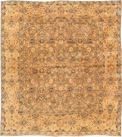 Antique Persian Kirman Botanic Handmade Wool Rug