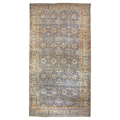 Antique Persian Kirman Botanic Navy Blue Background Rug 'Size Adjusted'