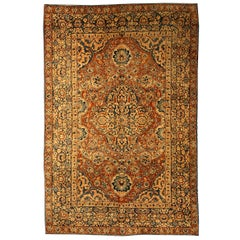 Antique Persian Kirman Brick Red and Blue Handwoven Wool Carpet