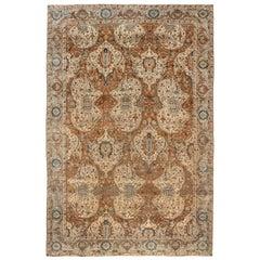 Antique Persian Kirman Brown, Beige and Blue Handwoven Wool Rug