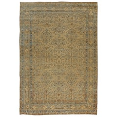 Antique Persian Kirman Camel, Beige and Blue Handwoven Wool Rug