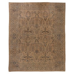 Antique Persian Kirman Camle, Black and Blue Handwoven Wool Rug