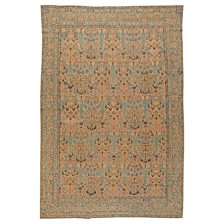 Antique Persian Kirman Beige & Pastel Handwoven Wool Carpet