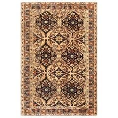 Antique Persian Kirman Chocolate Brown and Cream Handwoven Wool Rug