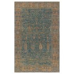 Antique Persian Kirman Green, Caramel and Cream Handwoven Wool Carpet