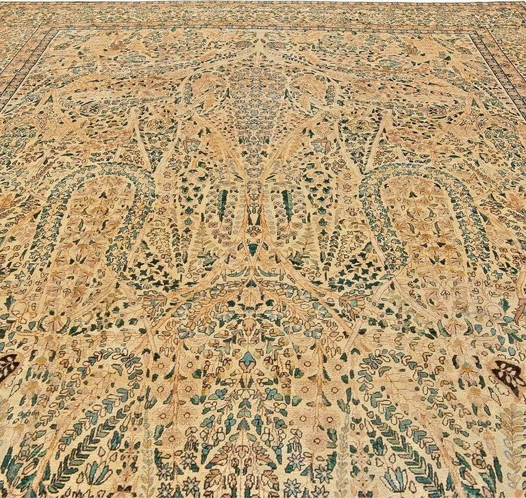 Hand-Woven Antique Persian Kirman Handwoven Wool Carpet For Sale