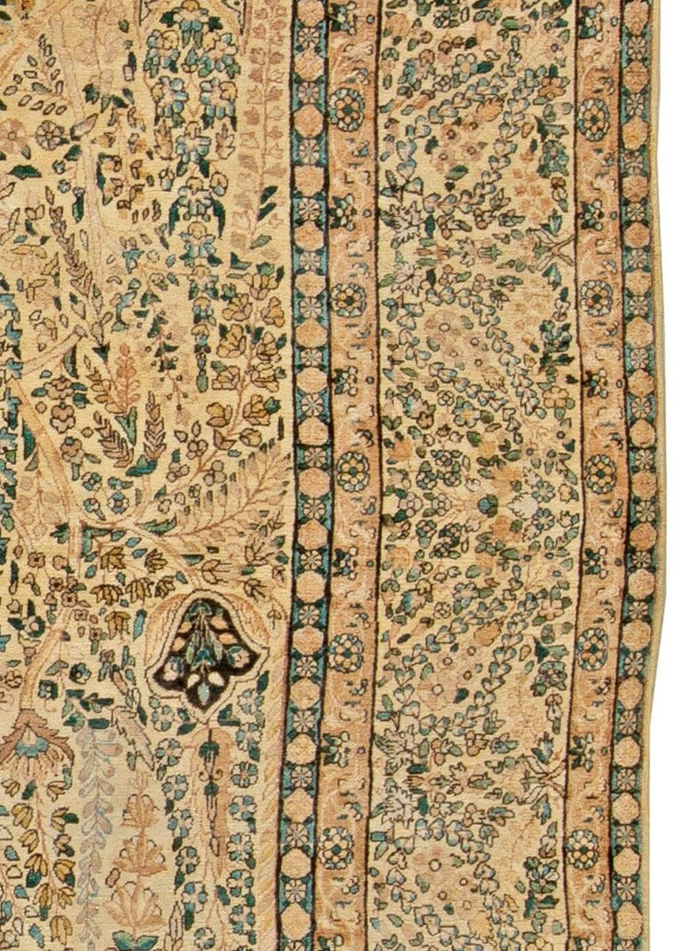 Antique Persian Kirman Handwoven Wool Carpet In Good Condition For Sale In New York, NY