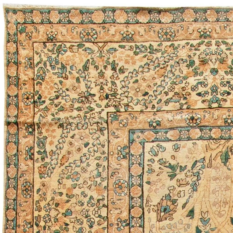 20th Century Antique Persian Kirman Handwoven Wool Carpet For Sale