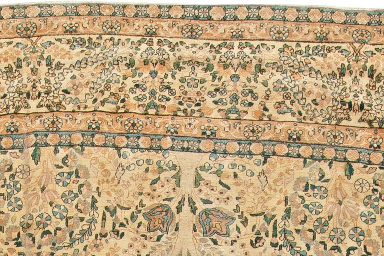 Antique Persian Kirman Handwoven Wool Carpet For Sale 1