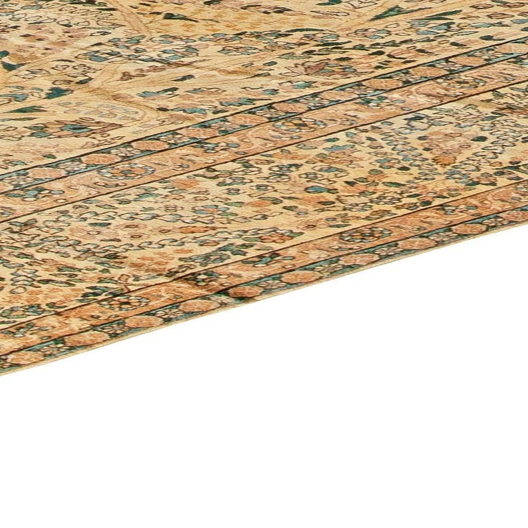 Antique Persian Kirman Handwoven Wool Carpet For Sale 2