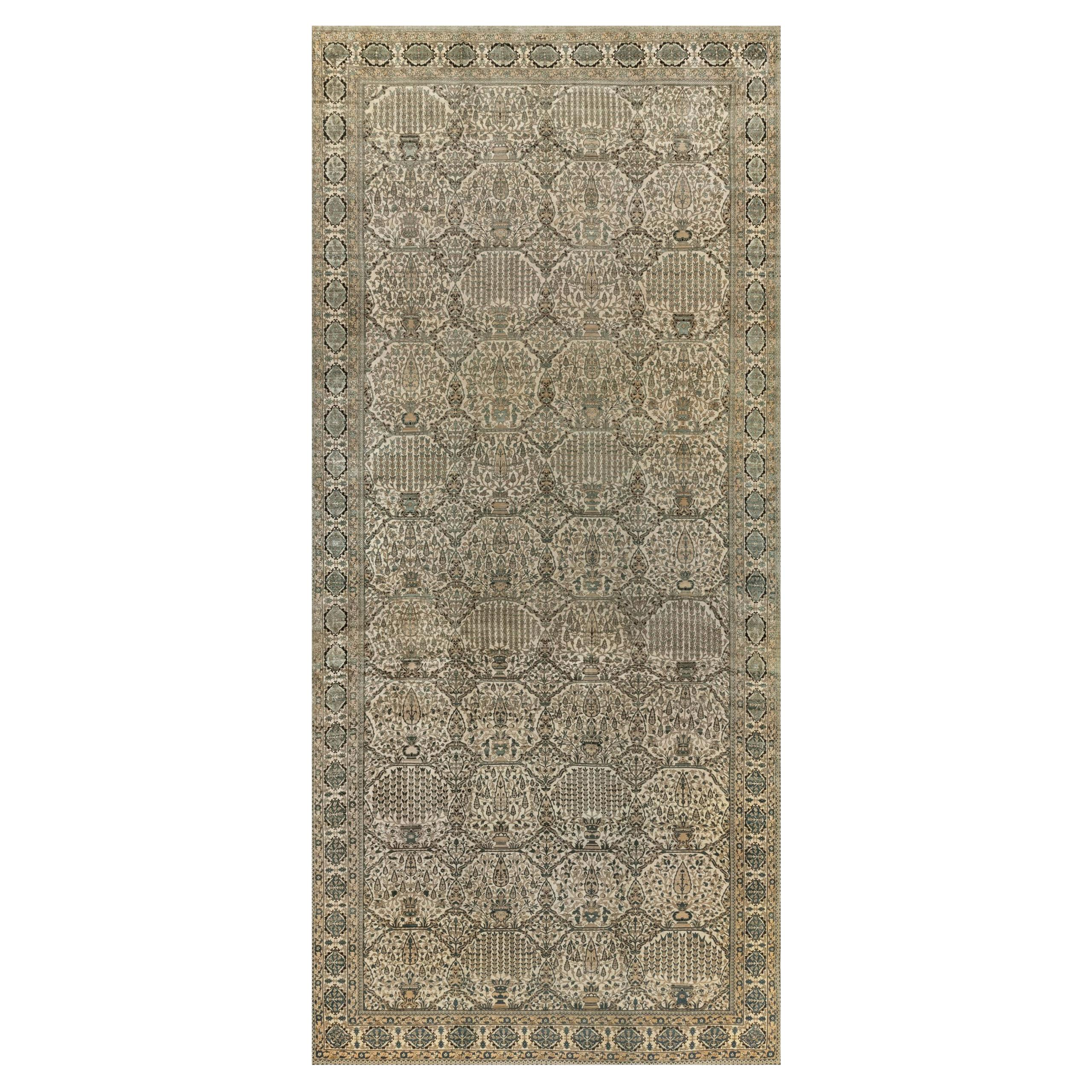 Antique Persian Kirman Handwoven Wool Rug
