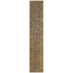 Antique Persian Kirman Indigo Blue, Beige and Brown Handwoven Wool Runner