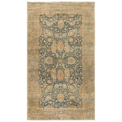 Antique Persian Kirman Indigo, Camel and Ivory Beige Handwoven Wool Rug