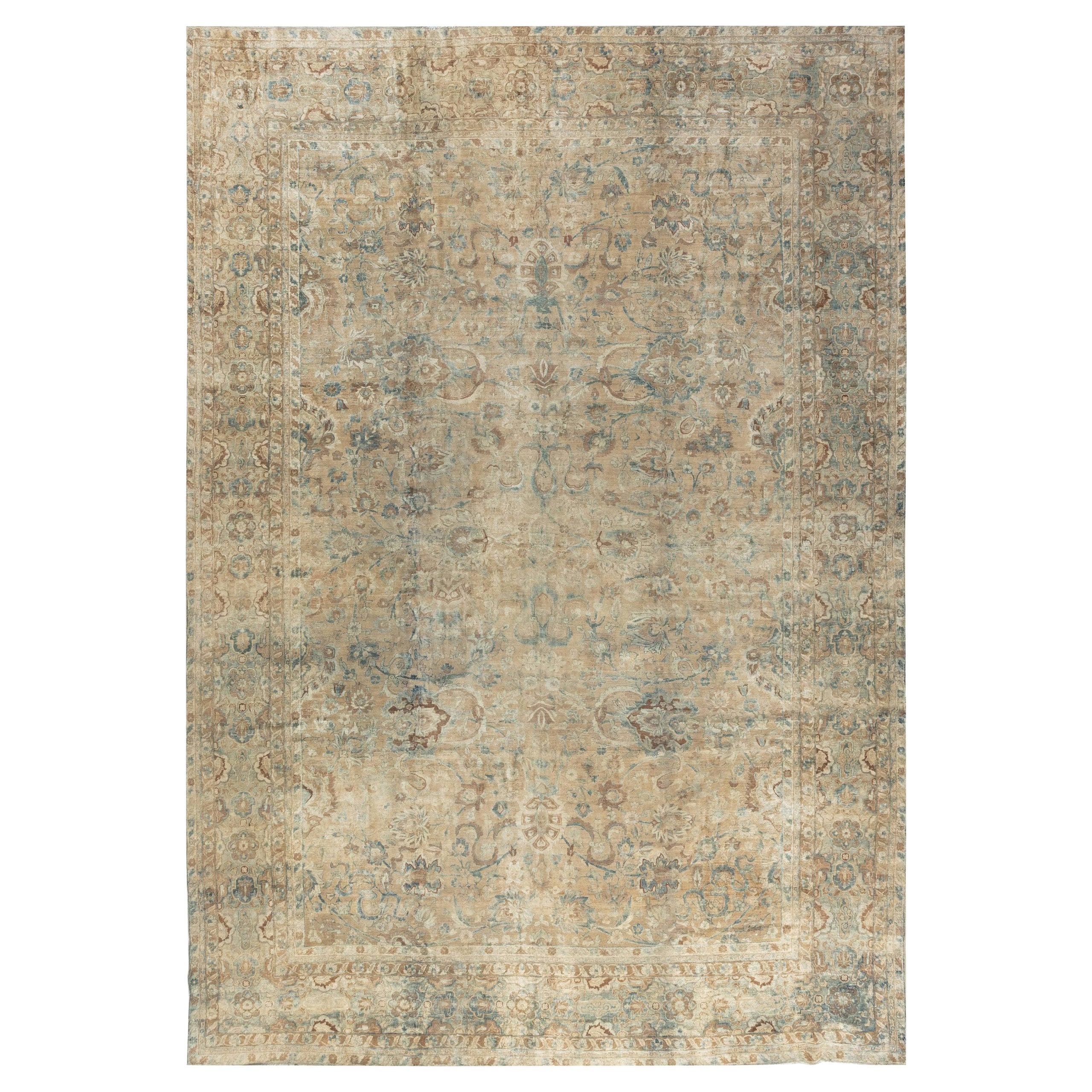 Antique Persian Kirman Ivory, Blue and Magenta Handwoven Wool Carpet