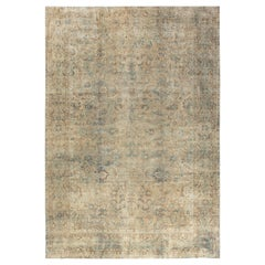 Antique Persian Kirman Ivory, Blue and Magenta Handwoven Wool Carpet