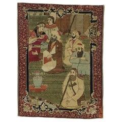 Antique Persian Kirman 'Kerman' Pictorial Rug, Persian Tapestry Wall Hanging