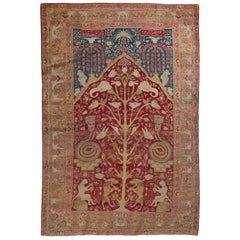 Antique Persian Kirman Lavar Pictorial Rug, circa 1900