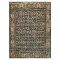 Antique Persian Kirman Midnight Blue and Camel Handwoven Wool Rug