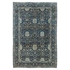 Antique Persian Kirman Navy Blue and Beige Handwoven Wool Rug