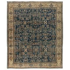 Antique Persian Kirman Navy Blue & Camel Wool Rug