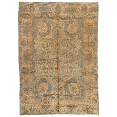 Antique Persian Ivory Gold Blue Floral Kirman Rug, circa 1930s