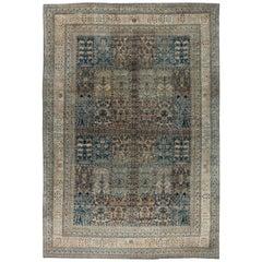 Camel and Pastel Blue Antique Persian Kirman Rug