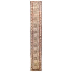 Antique Persian Kordi Runner Rug in Ivory with Red and Black Floral Details