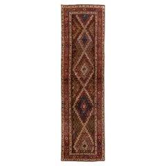 Antique Persian Kurd Handmade Allover Multicolor Wool Runner
