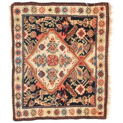 Antique Persian Kurdish Bagface with Navy, Orange and Cream Colored Wool