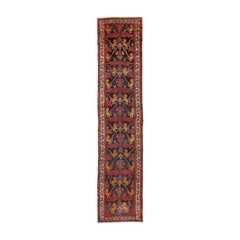 Antique Persian Kurdish Bidjar Runner Rug. Size: 3 ft 7 in x 16 ft 2 in