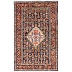 Antique Persian Kurdish Colorful Rug with Medallion and Geometric Motifs